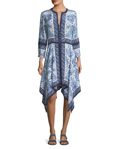 Cynthia Button-Front Paisley-Print Silk Dress