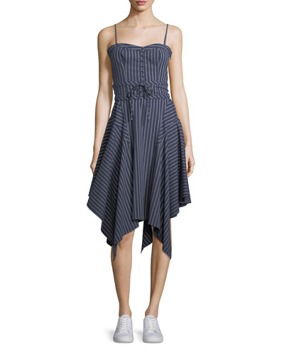 Ronit Sleeveless Fit-and-Flare Striped Poplin Dress