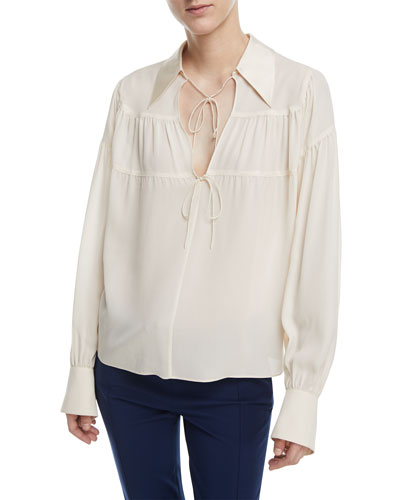 Tiered Necktie Silk Blouse