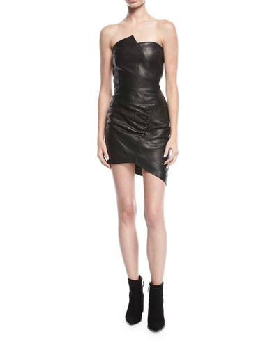 Enoma Fitted Strapless Leather Mini Cocktail Dress