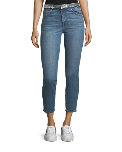 Jones Skinny-Leg Jeans with Sequined Waistband