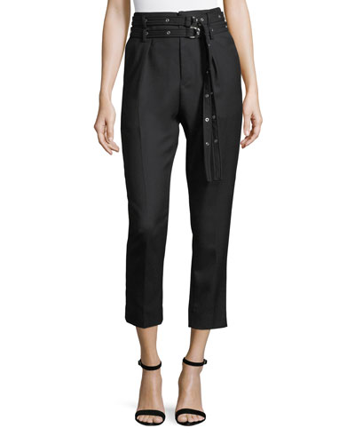 Lana High-Waist Straight-Leg Wool Ankle Pants