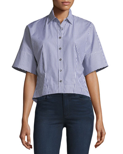 Cropped Button-Down Hartman Striped Shirt