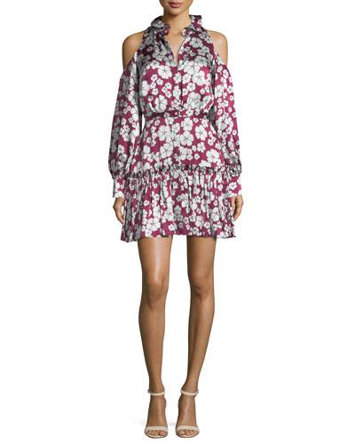 Audrina Floral-Print Cold-Shoulder Dress