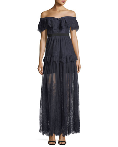 Off-the-Shoulder Fine Lace Cocktail Maxi Dress