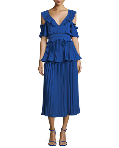 Pleated Frills Midi Cocktail Dress