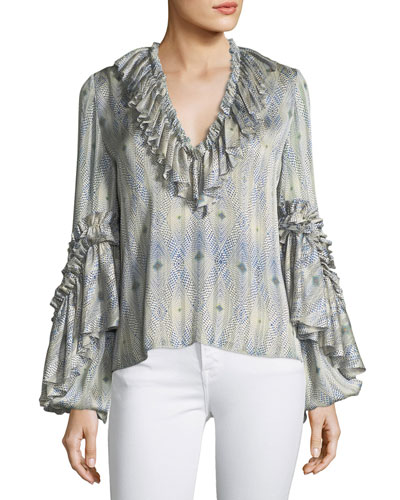 Zahara V-Neck Ruffled Printed Blouse
