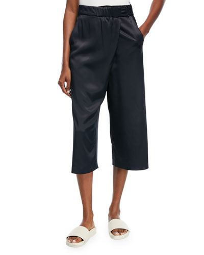 Satin Crossover Culotte Pants