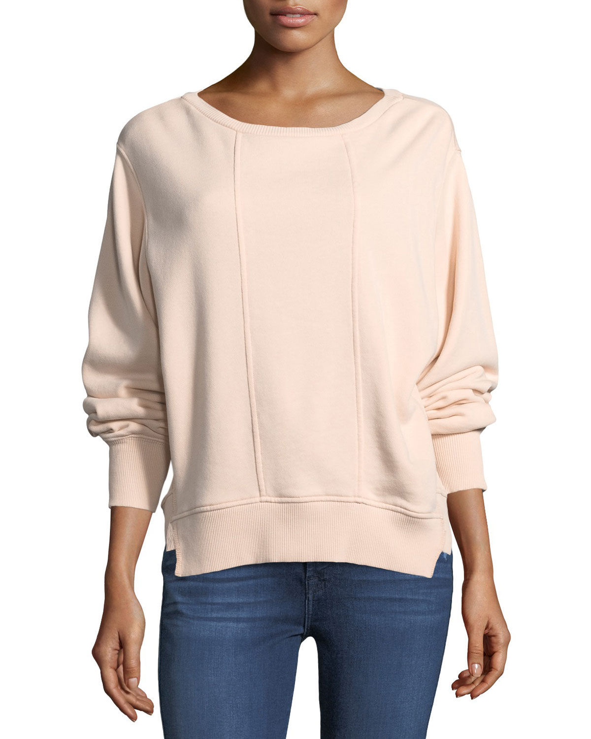 Crewneck Tucked Sleeve Cotton Sweatshirt