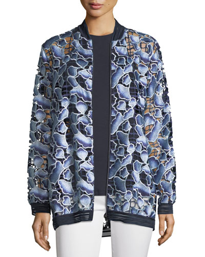 Gilana Floral-Net Long-Sleeve Jacket