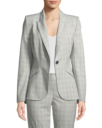 Allegra Micro-Plaid One-Button Jacket