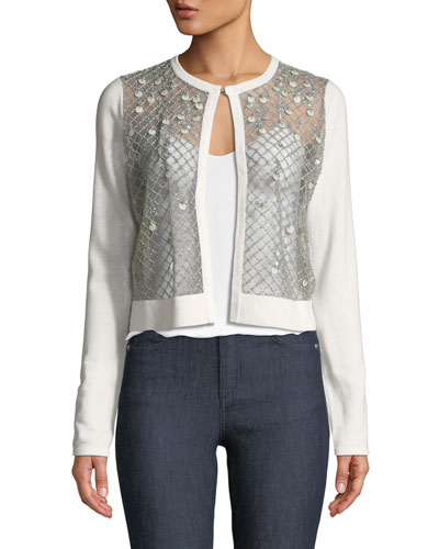 Donella Mesh-Front Wool Sweater
