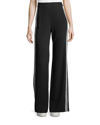Bonita Side-Stripe Back-Zip Pants