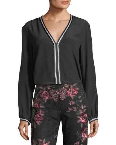 Granada Silk Stripe-Trim Shirt