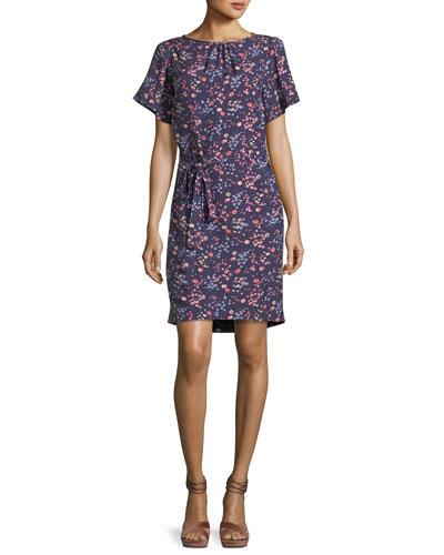Woodlands Short-Sleeve Floral-Print Dress