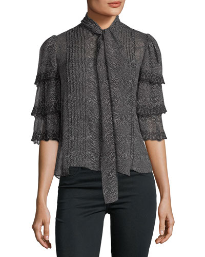Half-Sleeve Pebble-Print Ruffled Silk Top