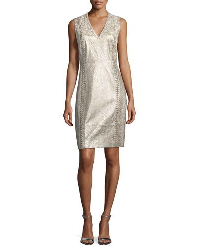Emily Metallic Lace-Up Dress
