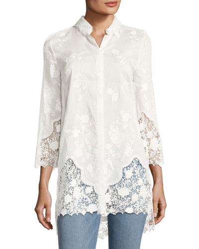 Clark Floral Lace Long Blouse