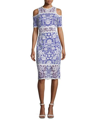 Lace Cold-Shoulder Sheath Cocktail Dress
