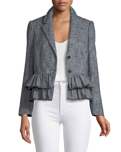 Slub-Suiting One-Button Jacket