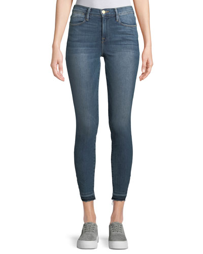 Le High Skinny Jeans w/ Triangle-Cut Hem