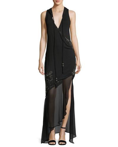 King of Salem Sleeveless Silk Chiffon Dress with Beaded Embellishments