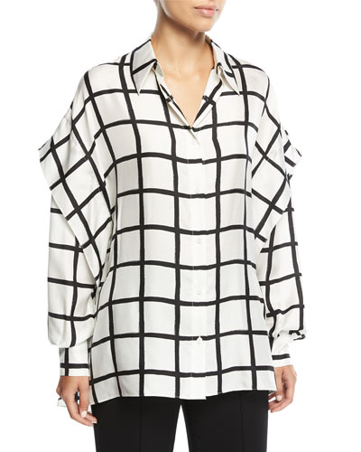 Grid-Print Button-Down Long-Sleeve Silk Shirt