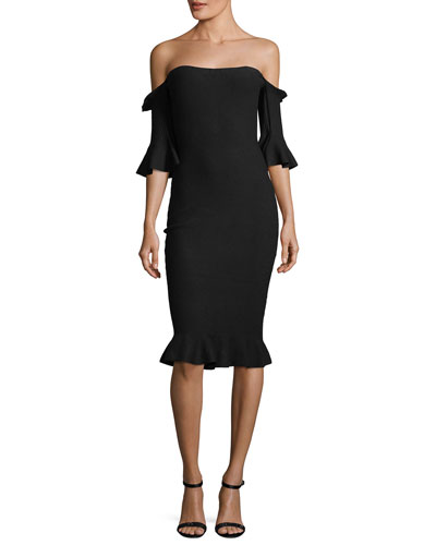 Pintuck Off-the-Shoulder Sheath Dress