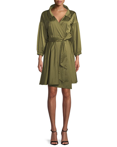 Italian Duchess Taffeta Wrap Dress