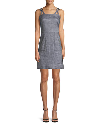 Linen-Blend Stretch-Denim Apron Dress