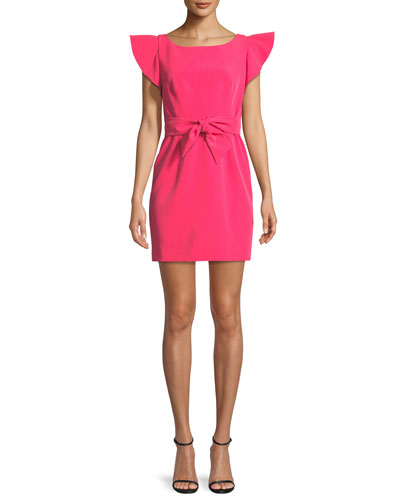 Italian Cady Ruffle-Sleeve Bow Mini Dress