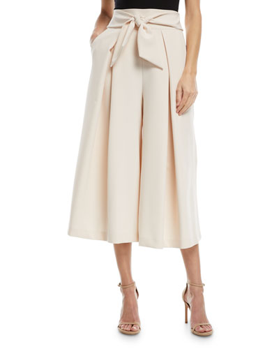 Italian Cady Bow-Detail Culotte Pants