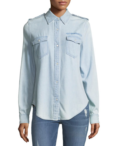 Military-Style Button-Front Denim Shirt