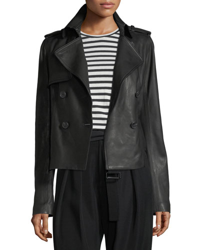 Cropped Lamb Leather Trench Coat