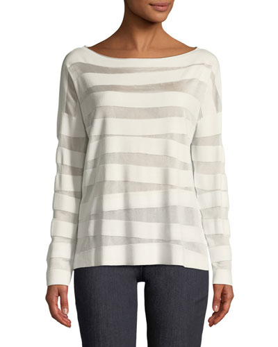 Matte Crepe Intarsia-Striped Sweater