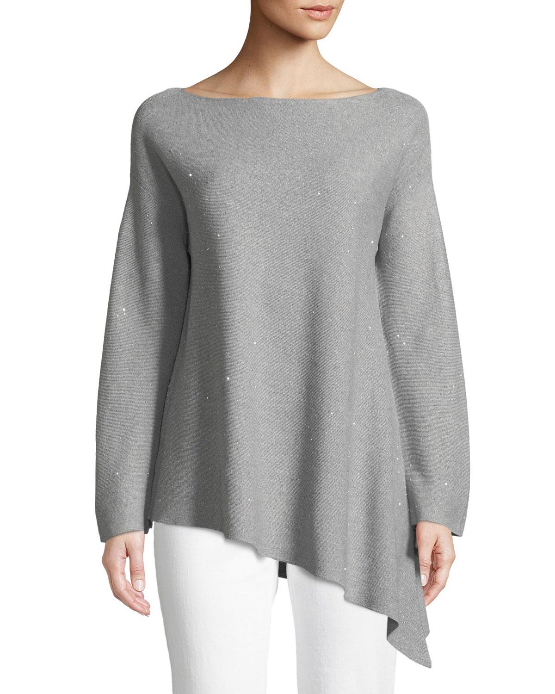 Sequin Mouline Asymmetric Sweater