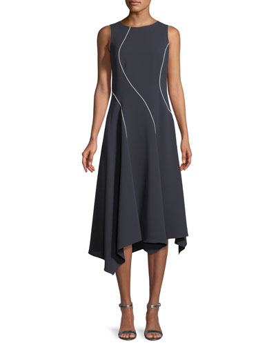 Emberlin Finesse Crepe Dress with Contrast Stitching
