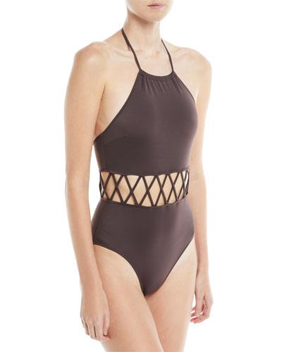 Barbara High Halter Lattice Cutout One-Piece Swimsuit