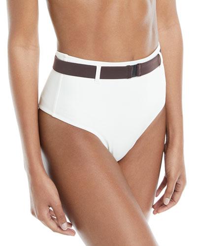 Josephine Belted High-Waist Swim Bikini Bottoms