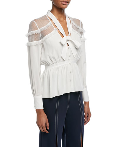 Peyton Tie-Neck Button-Front Silk Blouse