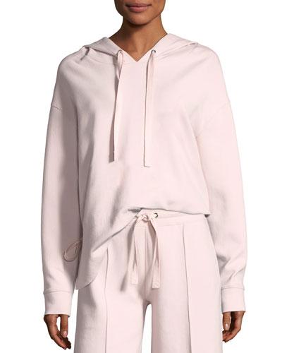 Cinched-Back Drawstring Hood Sweatshirt