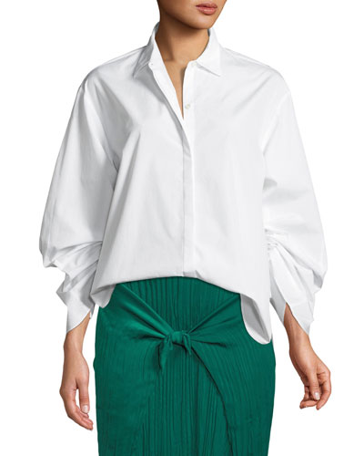Button-Front Cinched Cotton Poplin Shirt