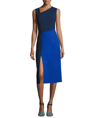 Sleeveless Asymmetric-Neck Midi Dress