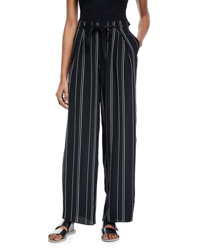 Striped Wide-Leg Pants w/ Tie Front