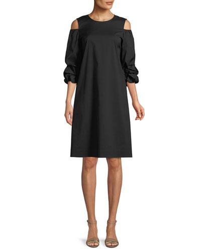 Willa Stretch-Cotton Ruffled-Sleeve Dress