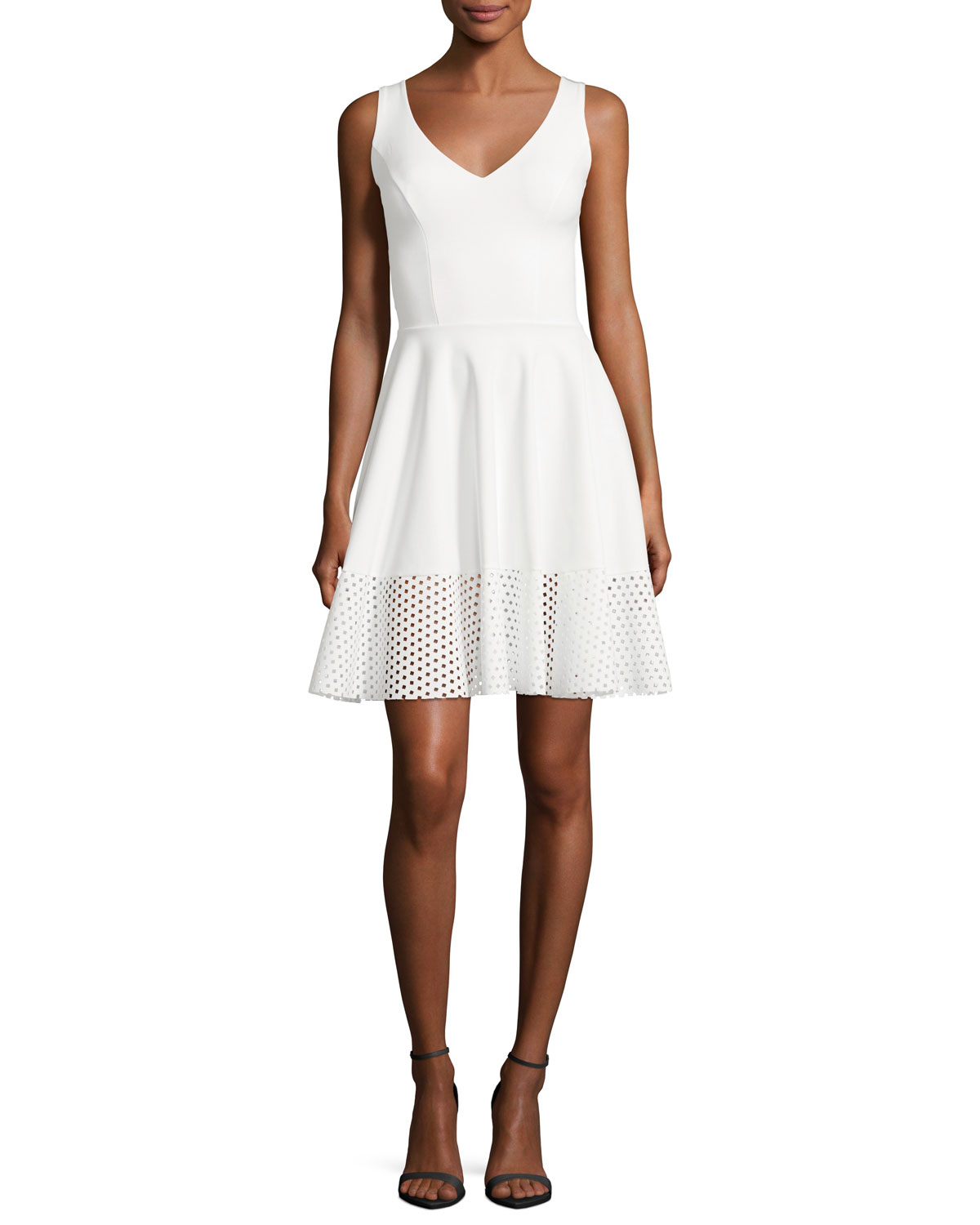 Lelia Eyelet-Hem A-Line Mini Cocktail Dress