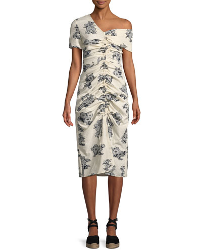 Josephine Ruched Floral-Print Occasion Dress
