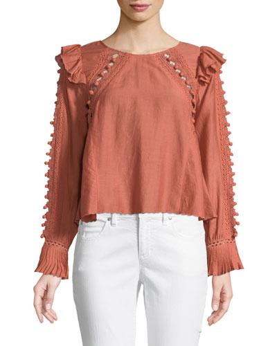 Esther Long-Sleeve Crochet Pompom Blouse