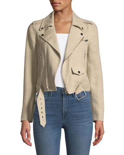 Shrunken Integrate Linen Moto Jacket