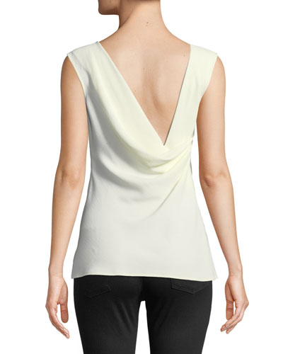 Scoop-Neck Sleeveless Rosina Crepe Tank